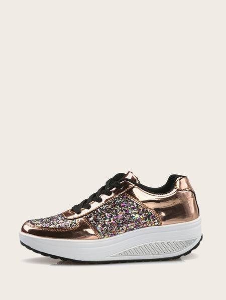 Lace Up Glitter Decor Sneakers