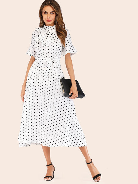Polka Dot Print Belted Dress