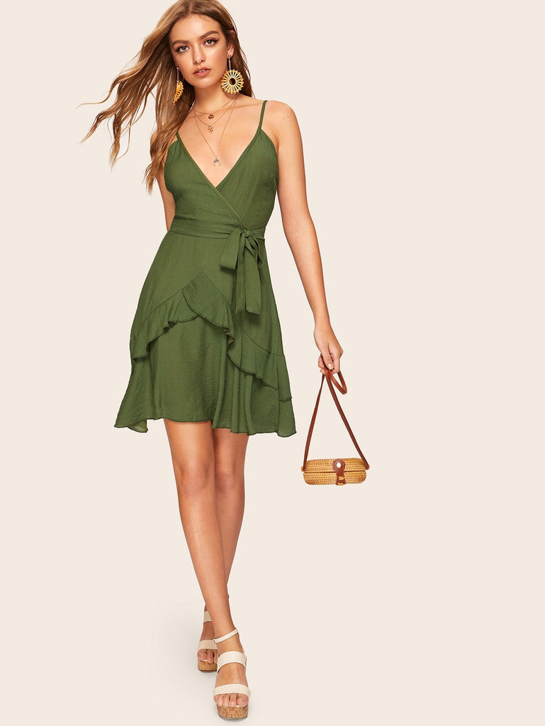 Surplice Front Ruffle Hem Wrap Cami Dress