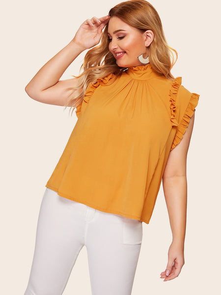 Plus Solid Frill Neck Blouse