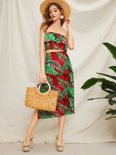 Plants Print Bandeau Top With Split Skirt