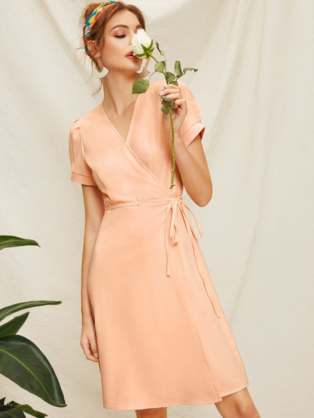 Solid Surplice  Front Self Tie Dress