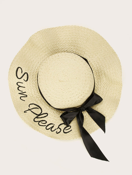 Bow & Letter Embroidery Decor Floppy Hat