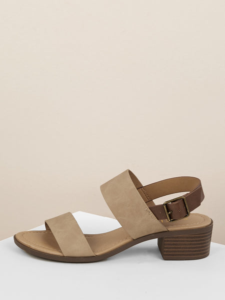 Open Toe Double Strap Stacked Heel Sandal