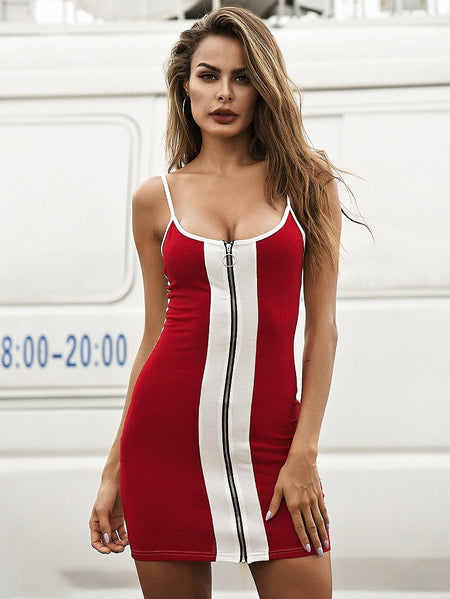 Zip Through Color Block Cami Bodycon Dress