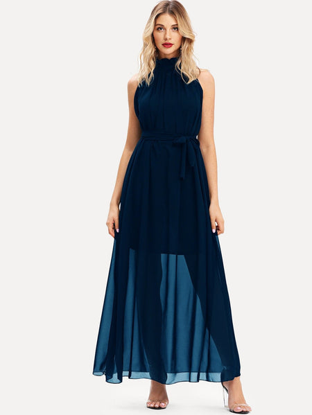 Frill Tie Neck Belt Maxi Chiffon Dress