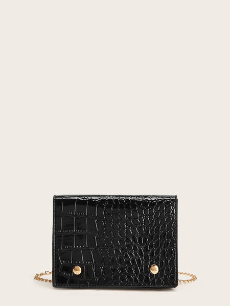 Crocodile Pattern Chain Crossbody Bag