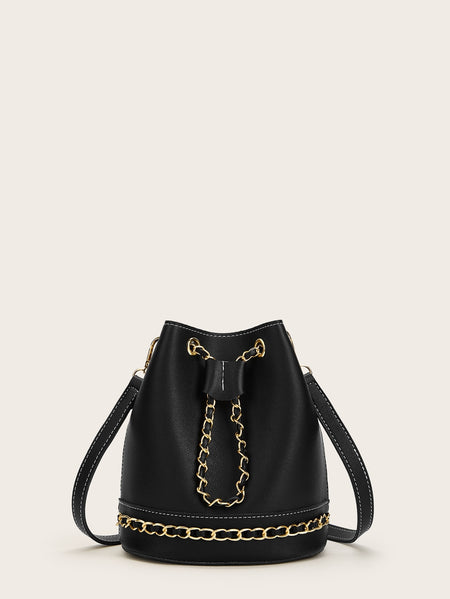 Chain Decor Bucket Bag With Inner Clutch