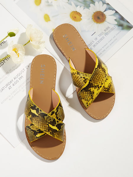 Snakeskin Criss Cross Slippers