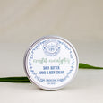 eucalyptus shea butter hand and body cream with leaves