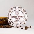 Coconut vanilla coffee goat milk soap with coffee beans
