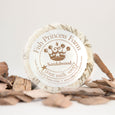 round sandalwood goat milk soap on natural background with props