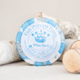round white birch goat milk soap on natural background with birch wood