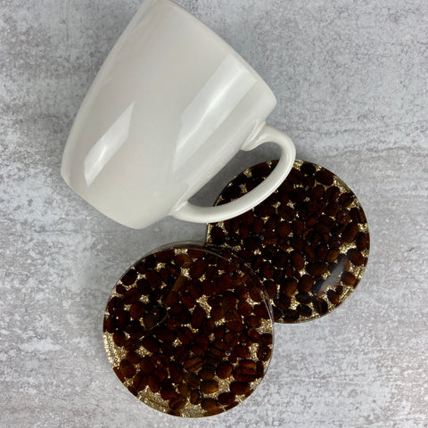 Coffee Bean Coasters, Set of 2