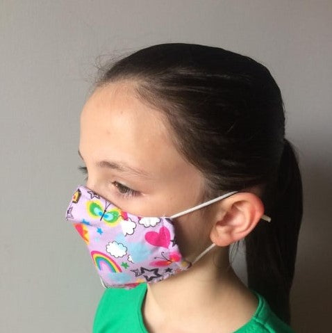 Kids Reusable Face Mask with Adjustable Ear Loops | 2 Masks per pack |  PPE