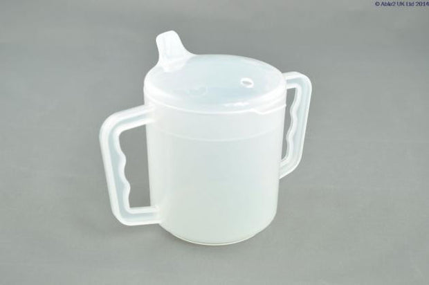 2 Handle Mug with Lids CLEAR