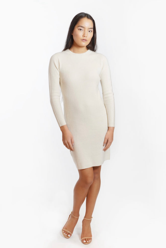 Cashmere Long Sleeve Crewneck Sweater Dress