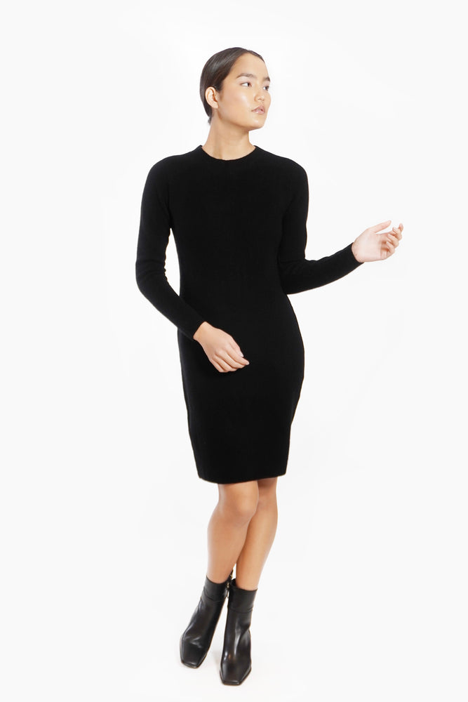 Load image into Gallery viewer, Cashmere Long Sleeve Crewneck Sweater Dress