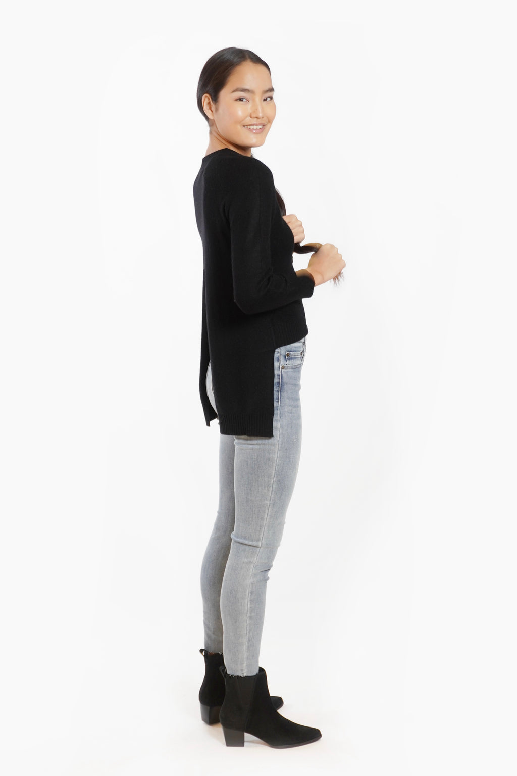 Cashmere Backslit Sweater