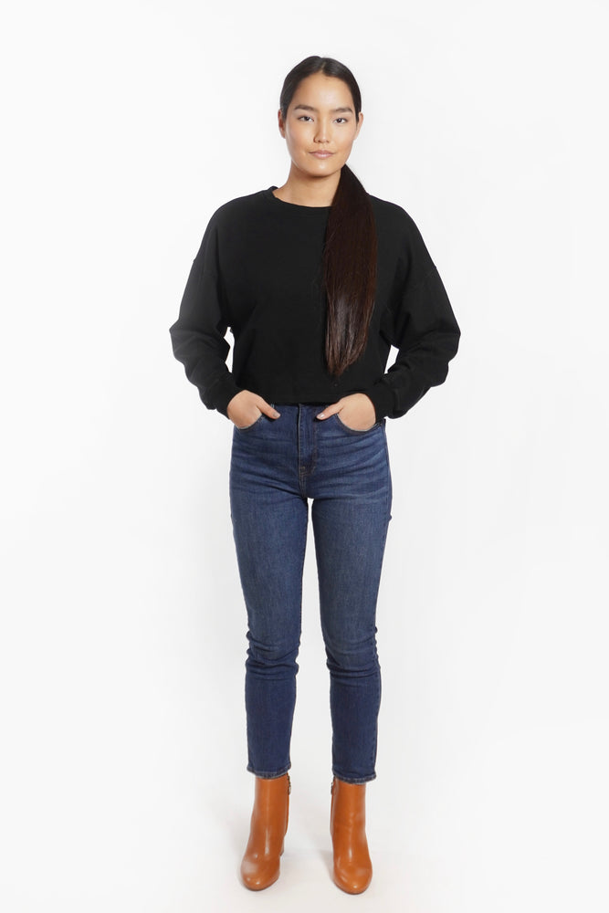 Black Cropped Long Sleeve Sweatshirt