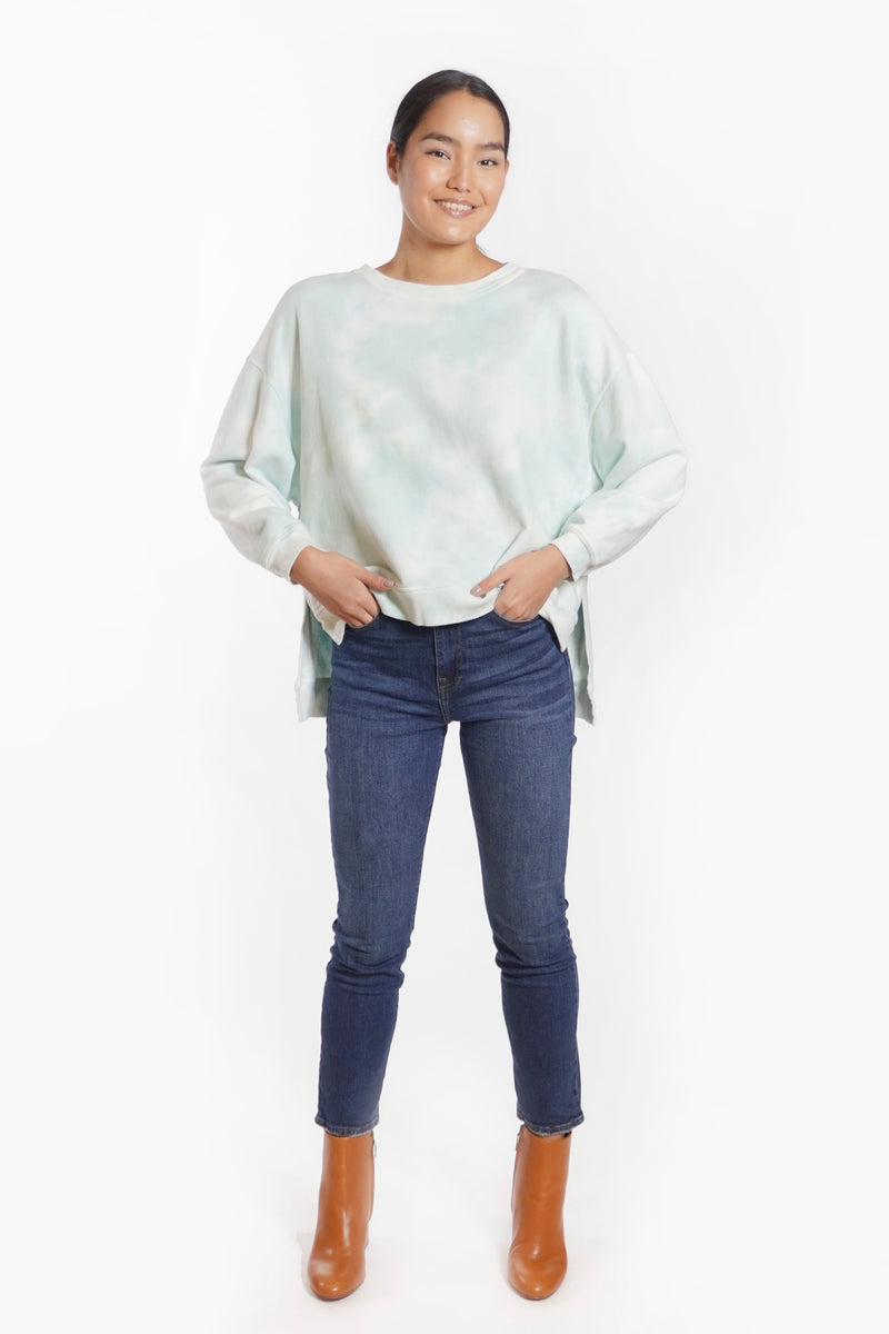 Cropped Sweatshirt with Dropped Puff Sleeves