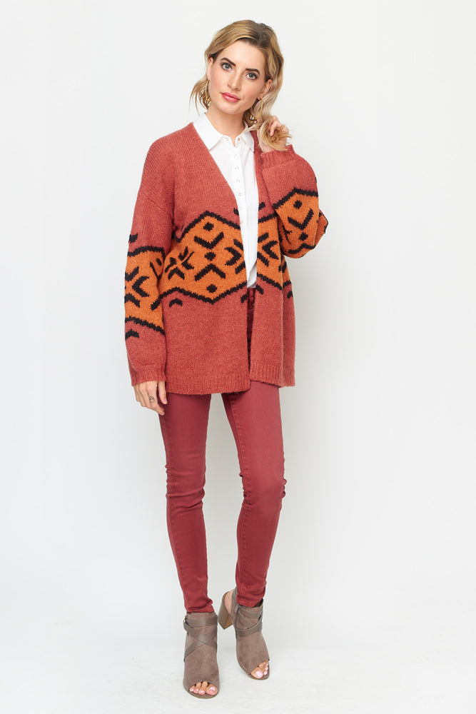 Load image into Gallery viewer, Tribal Print Cardigan