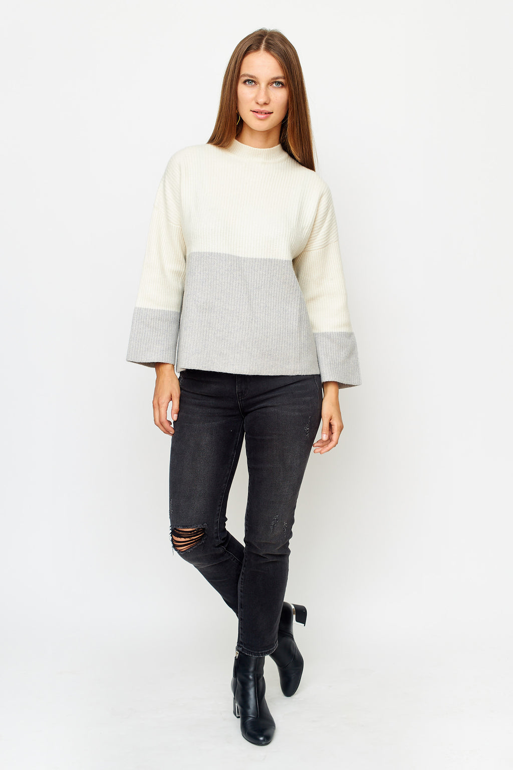 Oversized Striped Ribbed Knit Pull Over