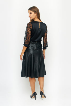 Load image into Gallery viewer, Leather Midi Skirt
