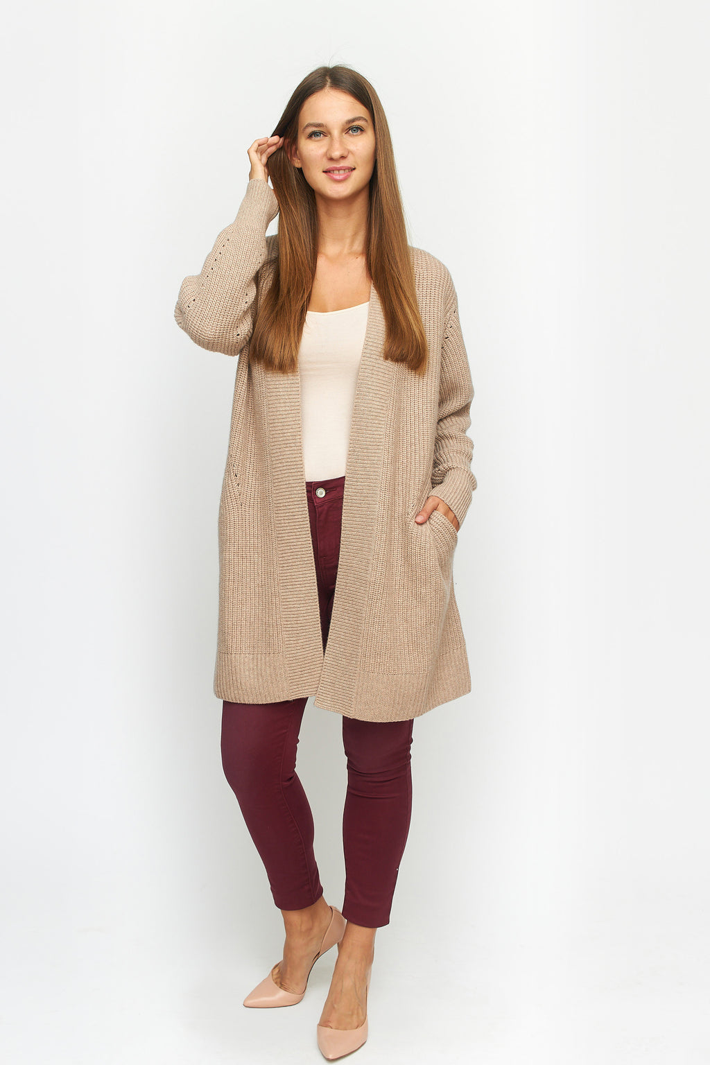 Cashmere Wool Open Cardigan
