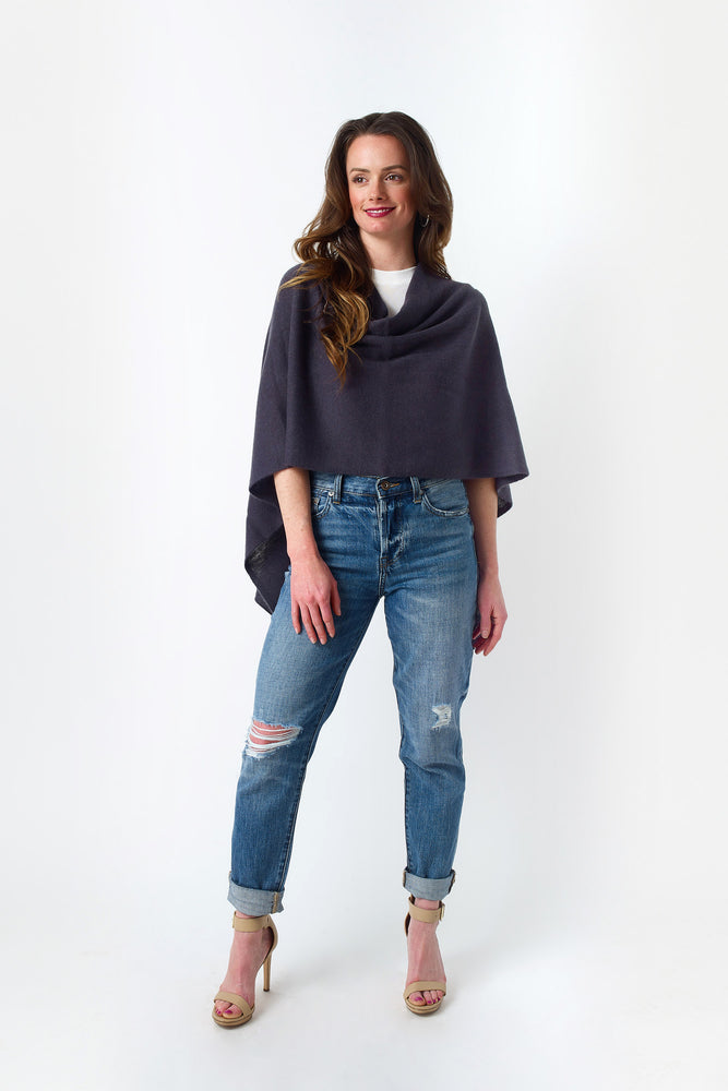 Load image into Gallery viewer, Cashmere Draped Dress Topper Poncho