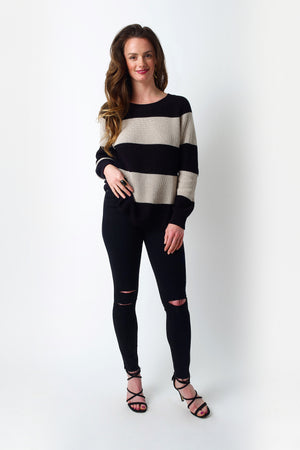 Load image into Gallery viewer, Beige and Black Striped Sweater