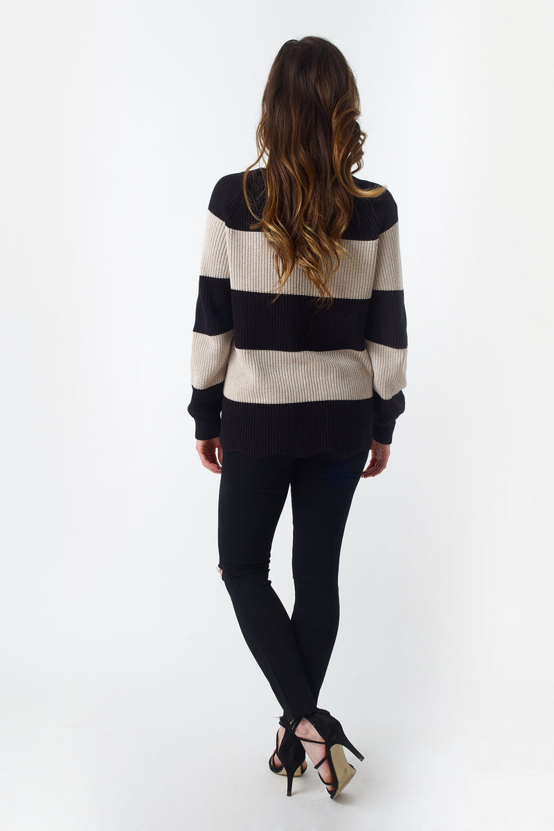 Beige and Black Striped Sweater