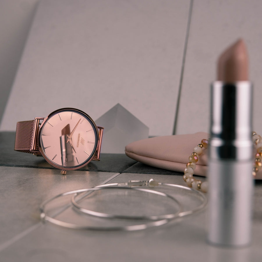 Mirrorwatch Touch of Rose. Watch with a mirror dial in rose-gold.
