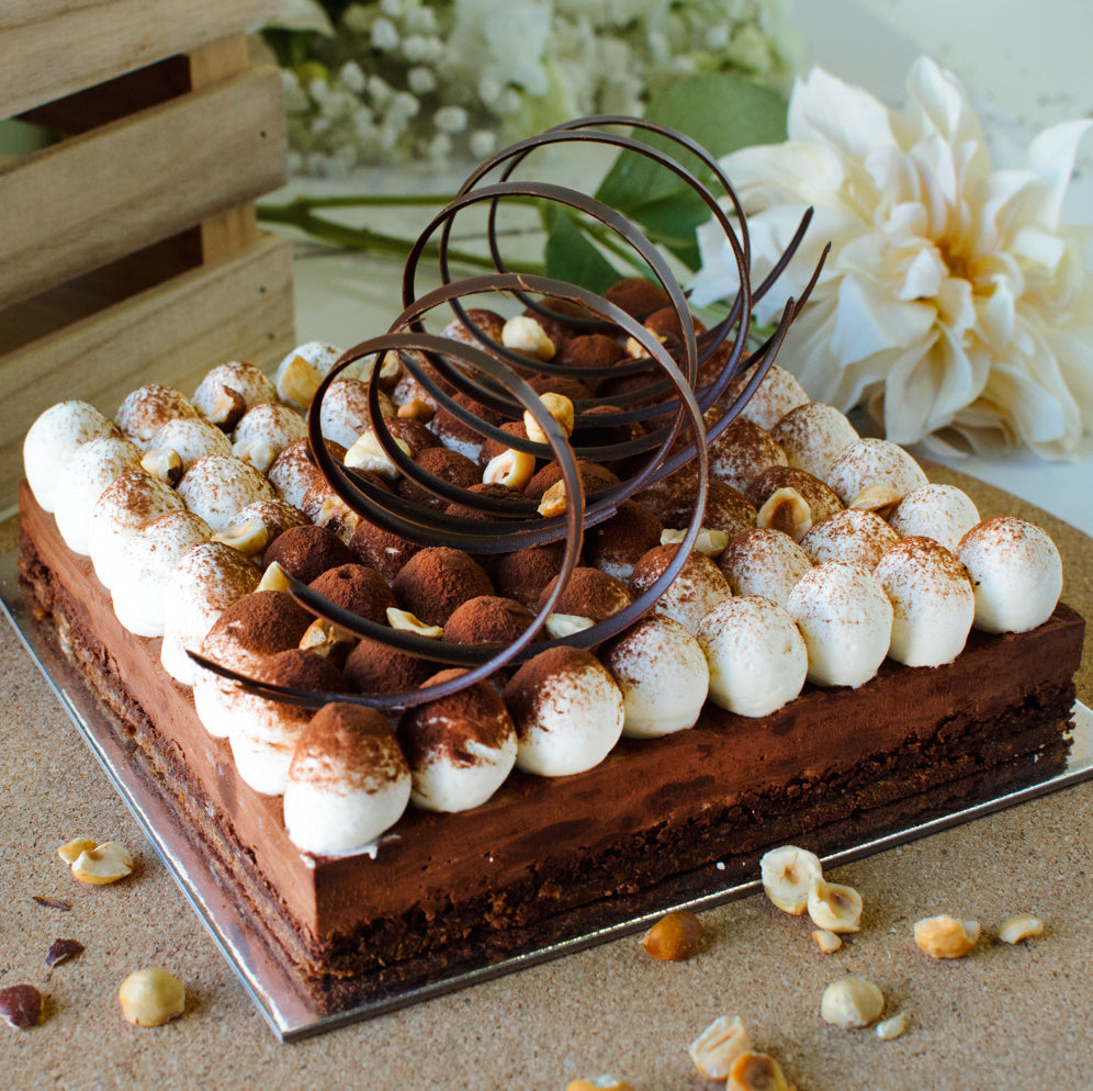DARK CHOC AND HAZELNUT MOUSSE CAKE
