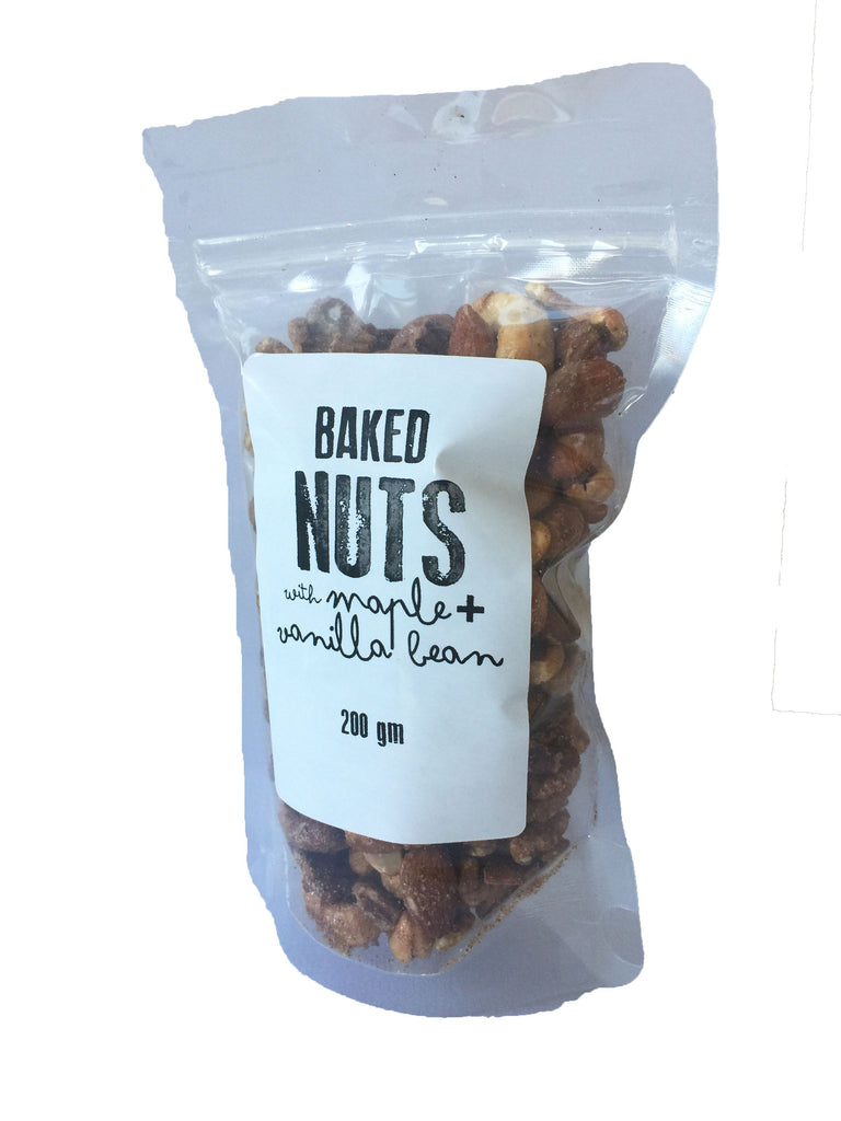 BAKED NUTS with maple syrup and vanilla bean