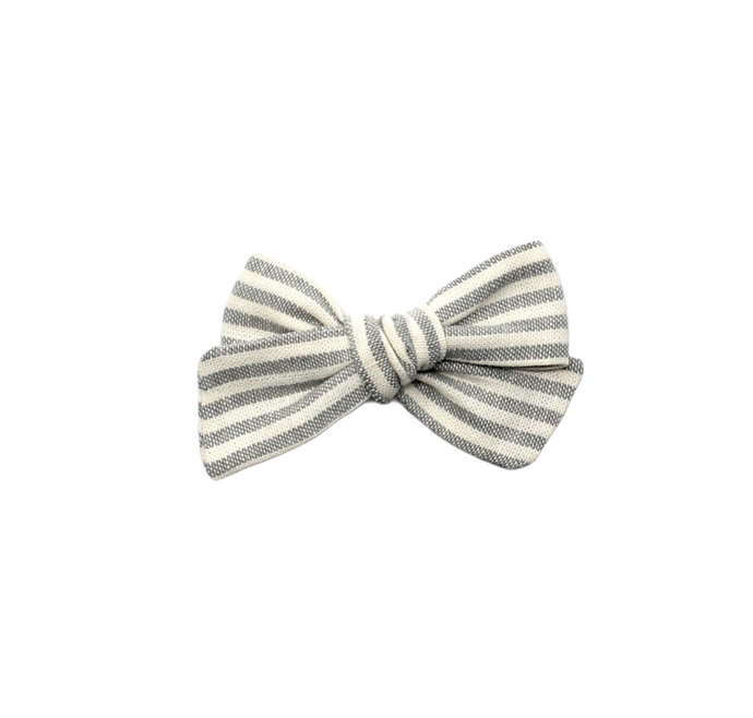 Mini Pinwheel Bow | Grey Stripe