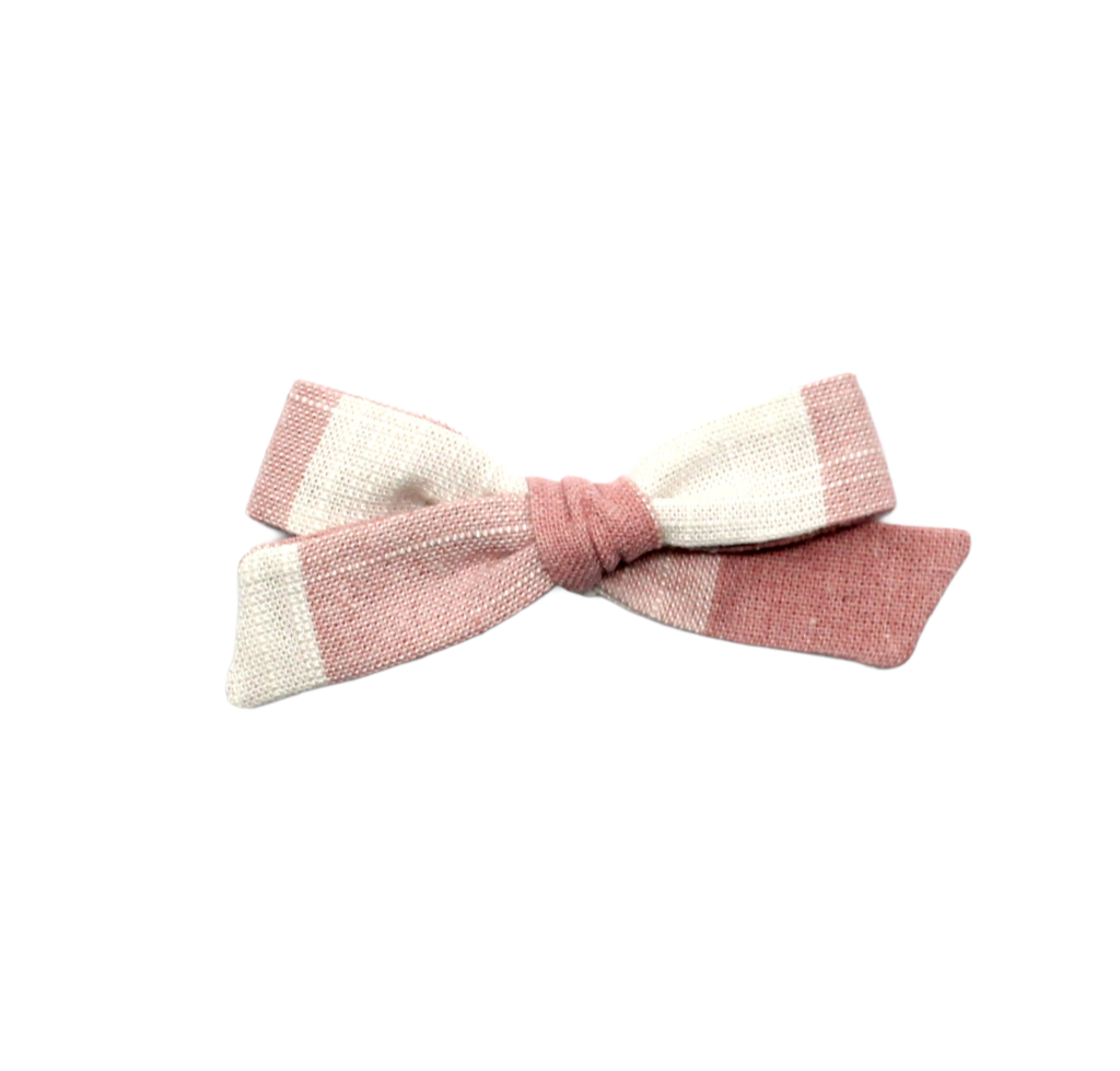 Regular Pigtail Bow | Pink Check