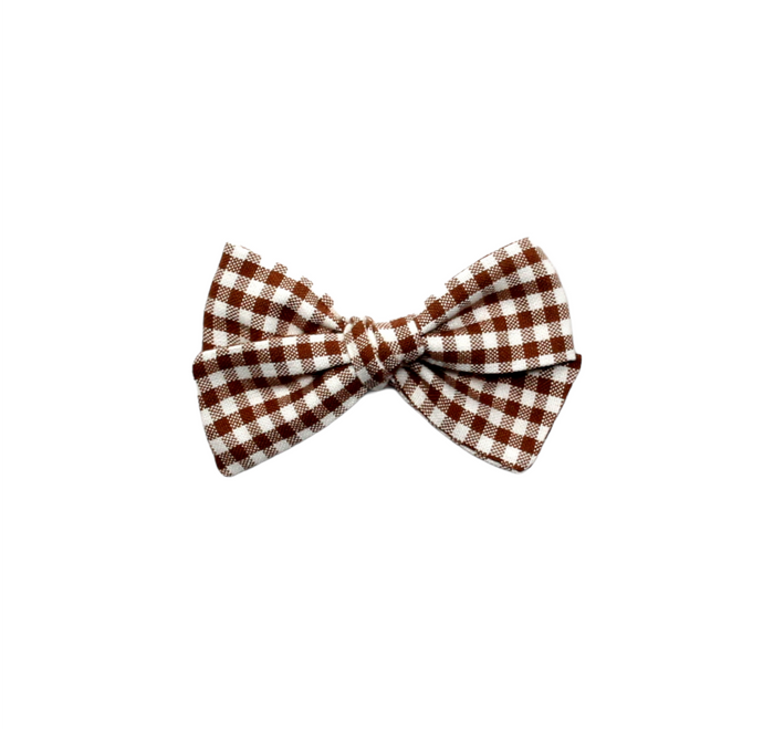 Mini Pinwheel Bow | Brown Check