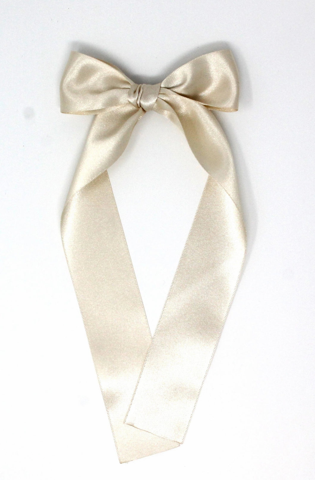 Luxe Satin Long Bow | Champagne