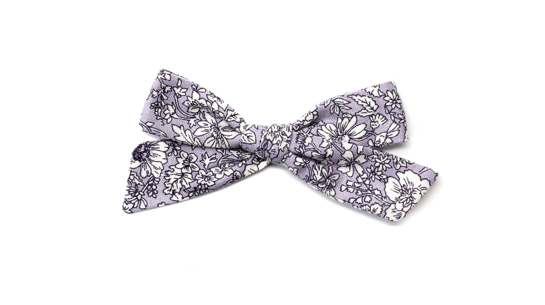 Regular Pigtail Bow | Purple Floral