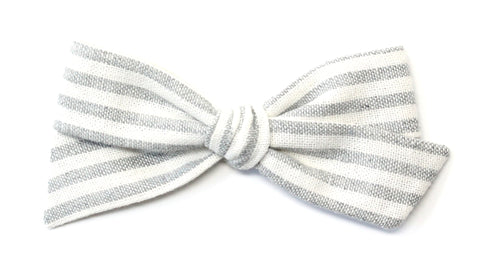 Oversized Pigtail  Bow | Grey Stripe