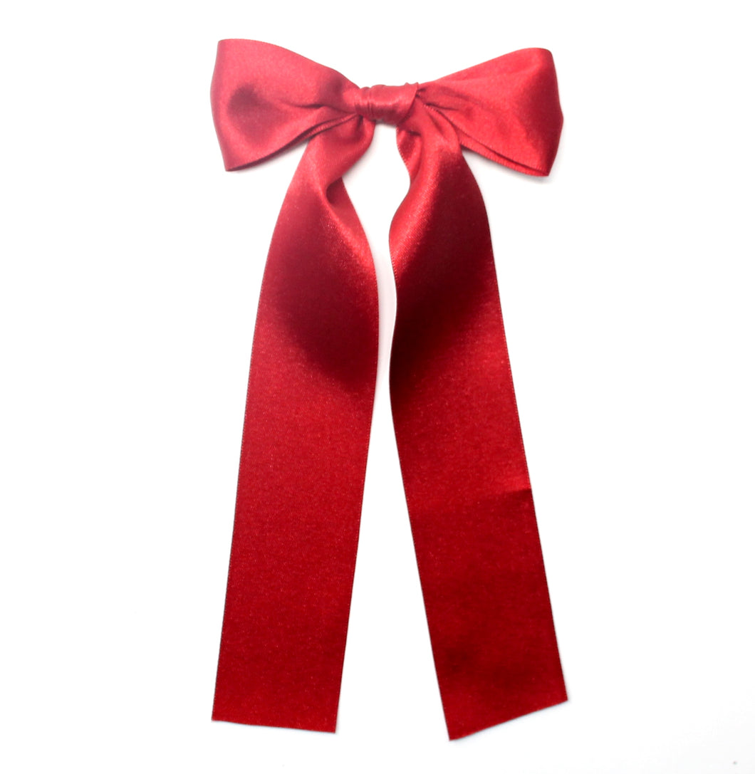 Luxe Satin Long Bow | Scarlet