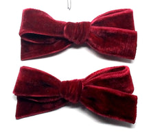 Load image into Gallery viewer, Luxury Velvet Pigtail Bow | Ruby Red