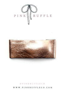 Leather Snap Clip | Metallic Rose Gold