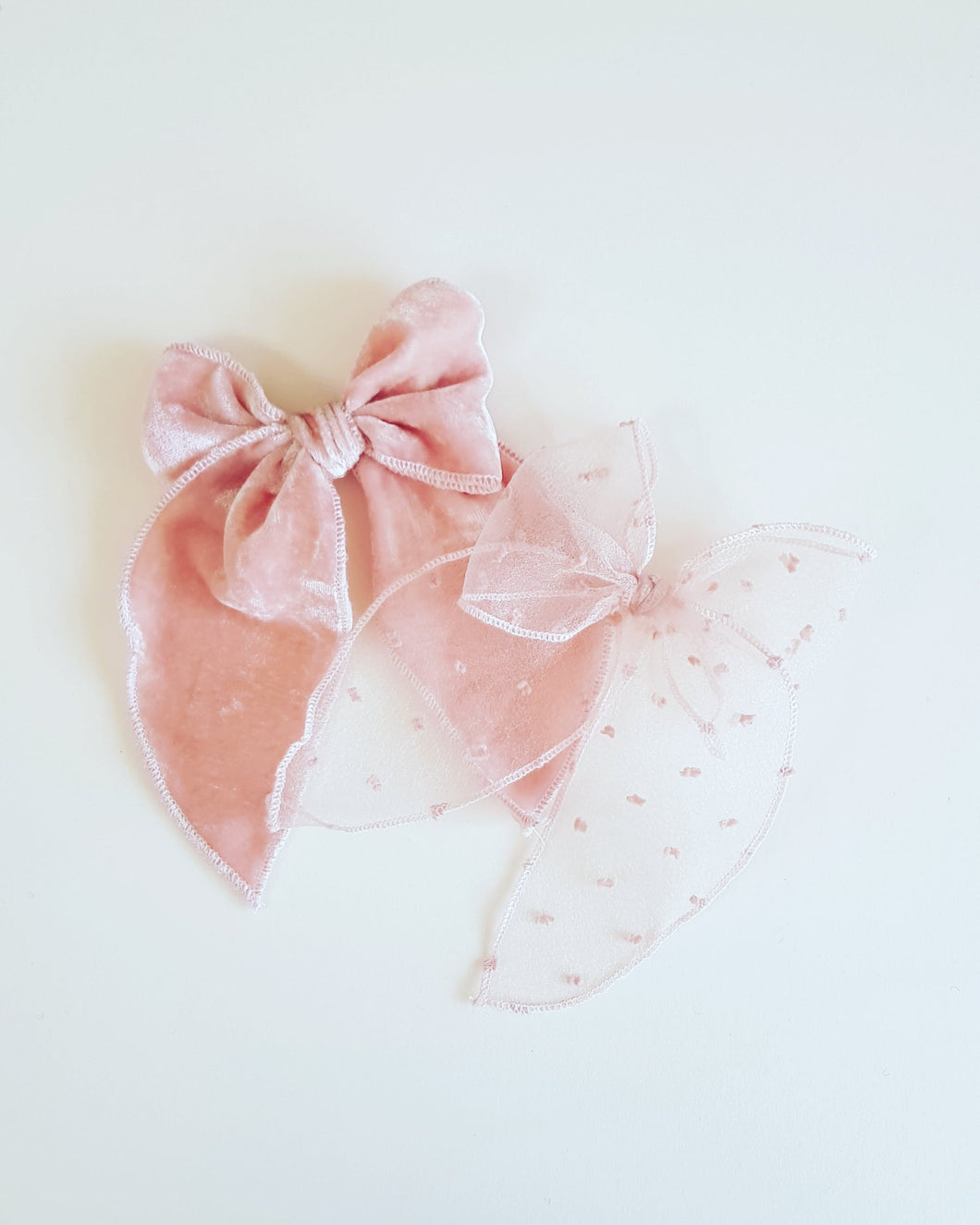 Flora Bow | Blush Flocked Tulle