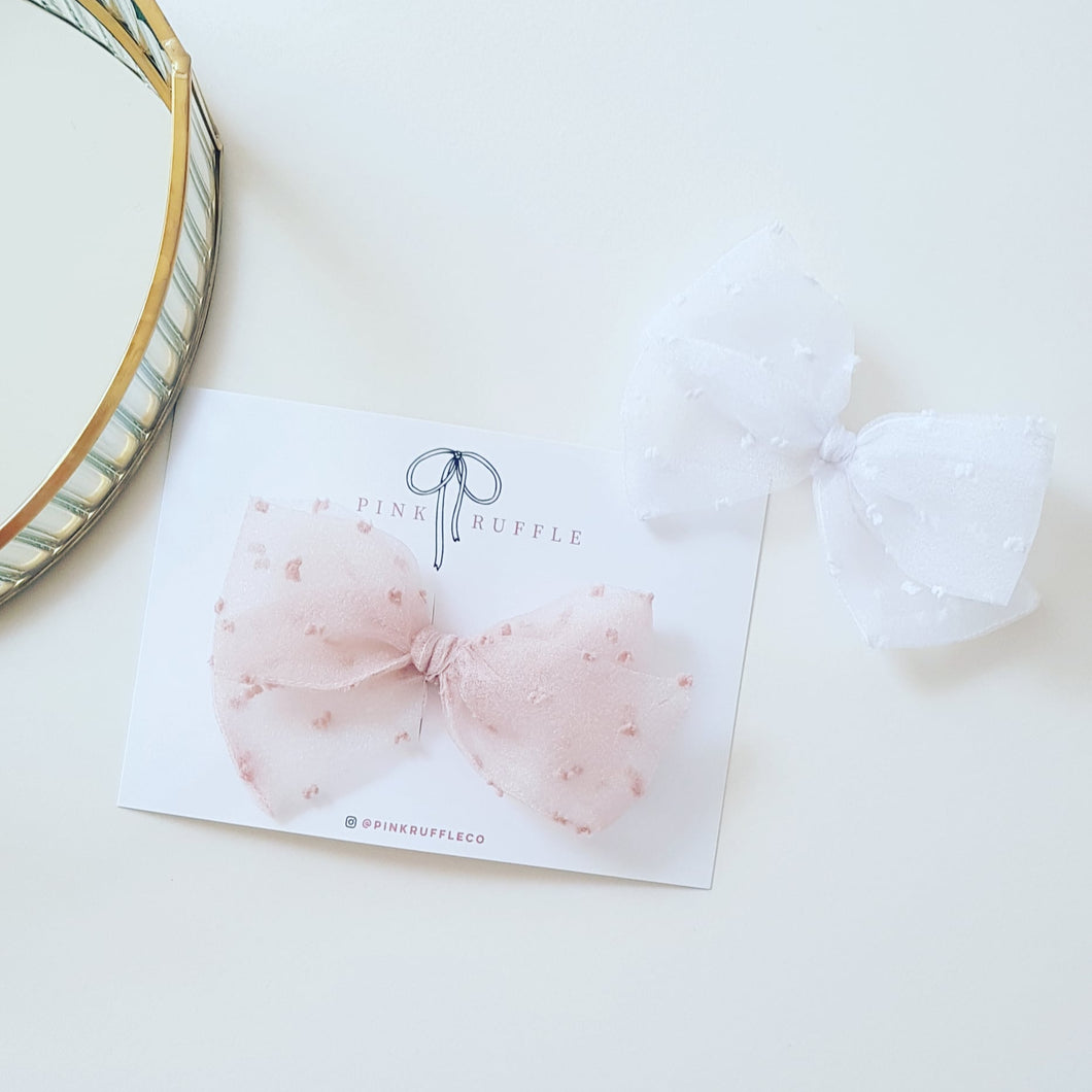 Pinwheel Bow | White Flocked Tulle