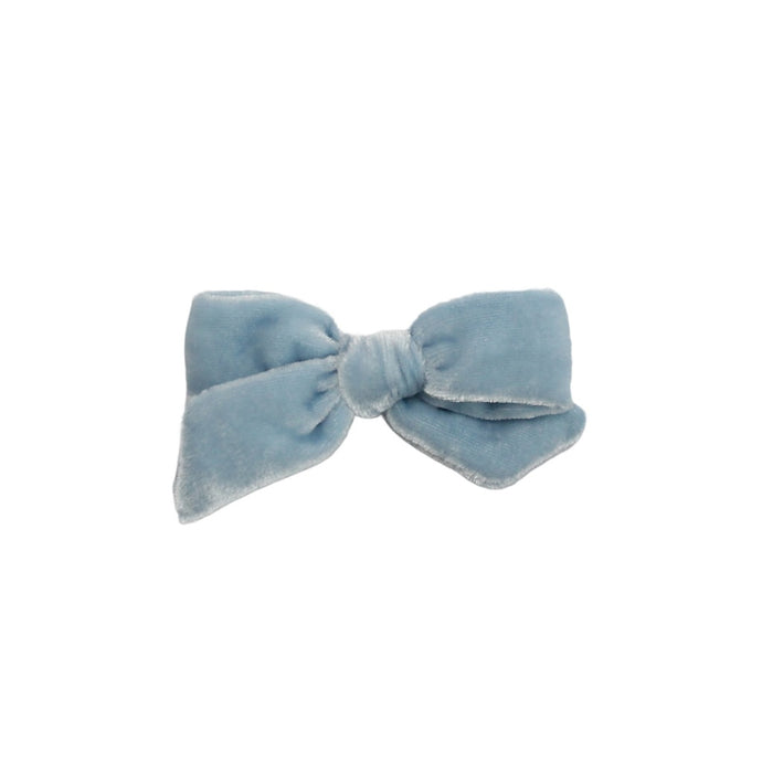 Petite Silk Velvet Bow | Powder Blue