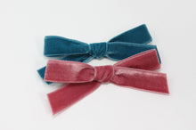 Load image into Gallery viewer, Luxury Velvet Hand-tied Bow | Teal