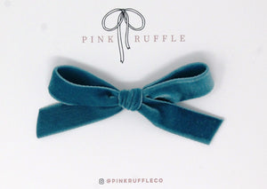 Luxury Velvet Hand-tied Bow | Teal