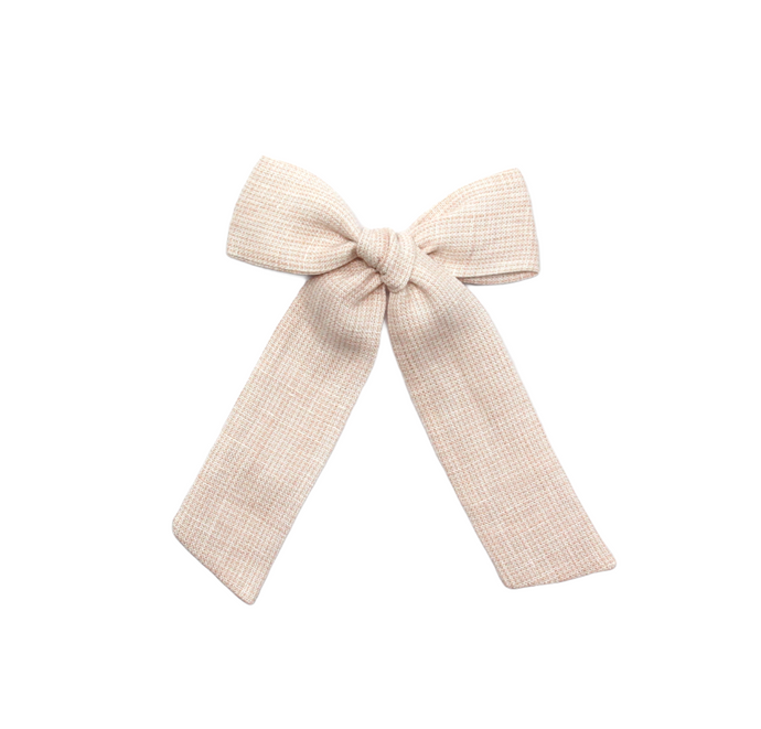Long Pigtail Bow| Peach Micro-Gingham